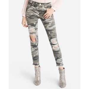Express Mid Rise Distressed Camouflage Ankle Jeans